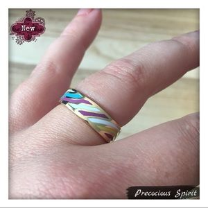 Wavy striped Multi-Color gold geo thin Enamel Ring